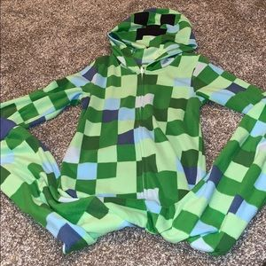 Minecraft hooded fleece onesie pajamas PJs